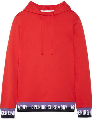 Opening Ceremony Ribbed Knit-trimmed Cotton-jersey Hooded Top - Red