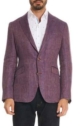 Robert Graham Men's Corbett Striped Linen Two-Button Jacket