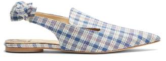 Rosie Assoulin Point-toe checked slingback slipper shoes