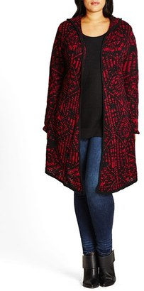 City Chic Geo Pattern Hooded Cardigan $79 thestylecure.com
