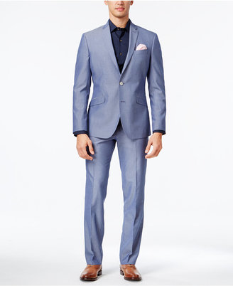 Kenneth Cole Reaction Men's Slim-Fit Light Blue Micro-Grid Suit $375 thestylecure.com