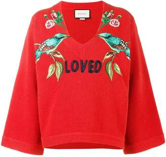 Gucci Loved bird embroidered top