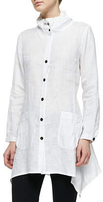 Go Silk Ruffle-Collar Linen Drama Big Shirt, Plus Size