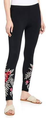 Johnny Was Maya Floral Embroidered Leggings, Plus Size