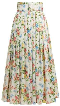 Emilia Wickstead High Rise Floral Print Midi Skirt - Womens - Multi