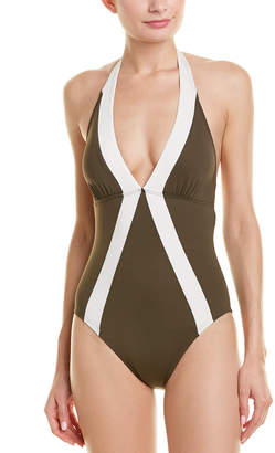 Vince Camuto Plunging Halter One-Piece