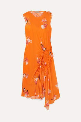Preen Line Antoinette Asymmetric Ruffled Floral-print Crepe De Chine Dress - Orange