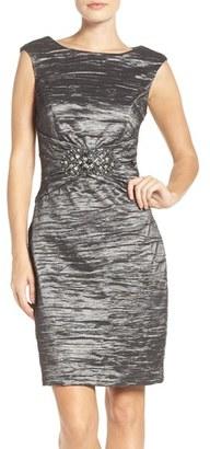 Women's Eliza J Embellished Taffeta Sheath Dress $148 thestylecure.com