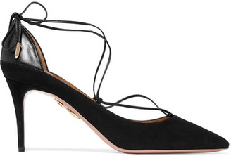 Aquazzura - Fellini Leather-trimmed Suede Pumps - Black $725 thestylecure.com