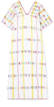 Pippa Holt - Embroidered Striped Cotton Kaftan - White