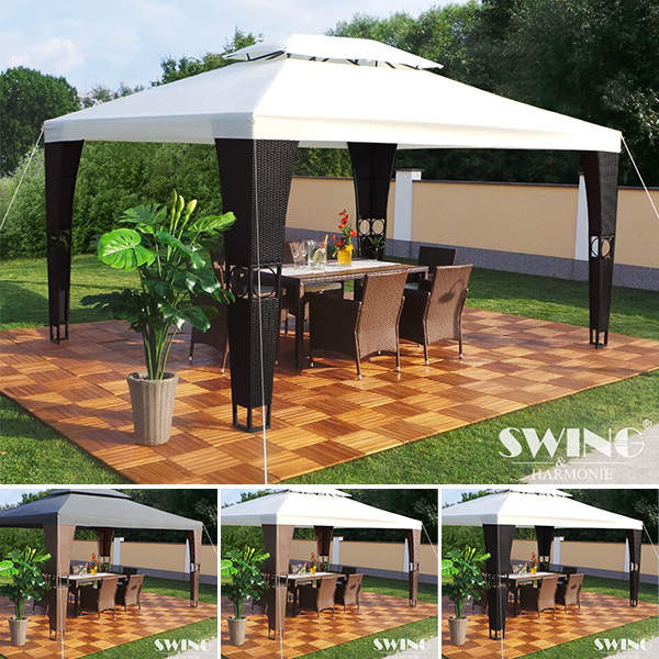 Swing&Harmonie Luxus-Rattan-Pavillon Royal