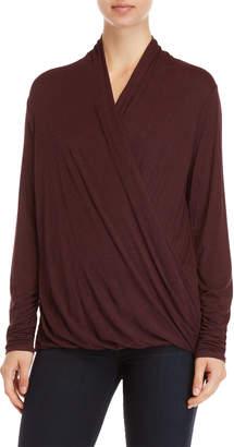 Max Studio Jersey Wrap Long Sleeve Top