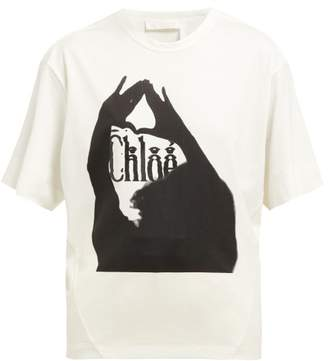 Chloé Logo Print Cotton T Shirt - Womens - White Black