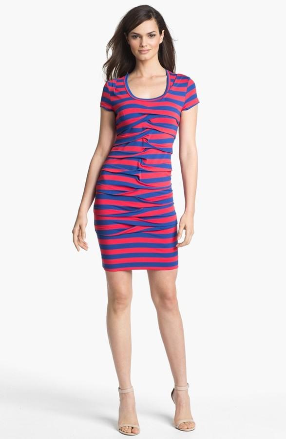 Nicole Miller Stripe Front Twist Jersey Dress