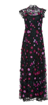 Lela Rose Embroidered Floral Lace Maxi Dress