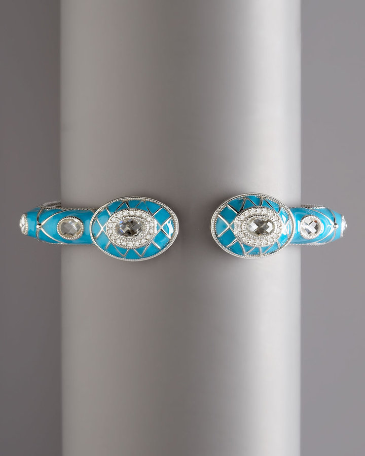 Zasha Quilted Pave Enamel Cuff