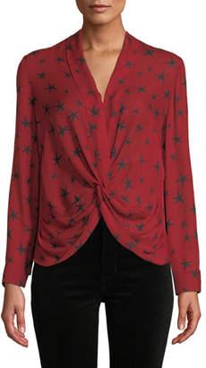L'Agence Mariposa Star-Print Silk Crossover Blouse