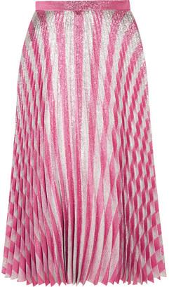 Gucci - Pleated Metallic Striped Stretch-silk Midi Skirt - Blush $2,200 thestylecure.com
