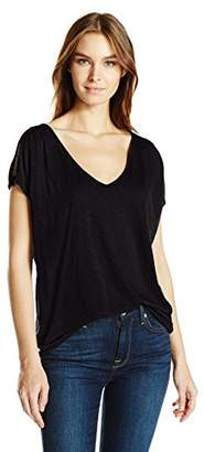 Velvet by Graham & Spencer Women's Lux Slub Cold Shoulder Tee