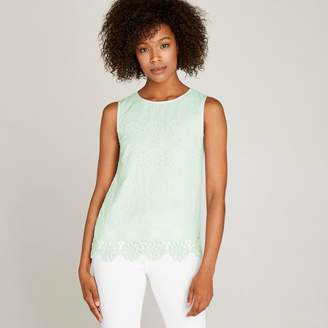 Apricot Mint Geo Embroidered Daisies Top