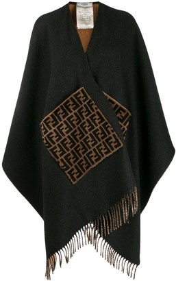 Fendi monogram fur pockets poncho