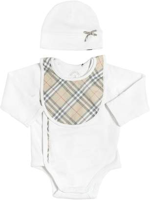 Burberry Cotton Jersey Bodysuit, Hat & Bib Set