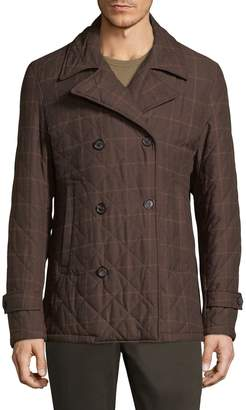 Isaia Men's Quilted Double Breasted Jacket