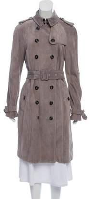 Burberry Suede Trench Coat Grey Suede Trench Coat