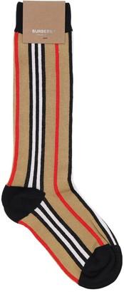 Burberry Icon Striped Cotton Blend Knit Socks