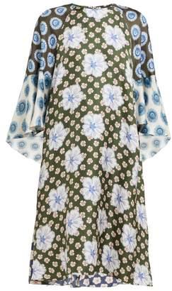 Biyan Athea Hibiscus Print Silk Dress - Womens - Blue Multi