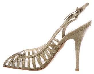 Sergio Rossi Snakeskin Slingback Sandals