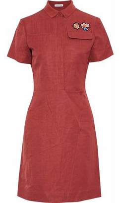 Tomas Maier Appliquéd Crinkled Woven Shirt Dress