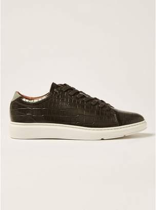 Topman Mens Black Croc Leather Razer Sneakers