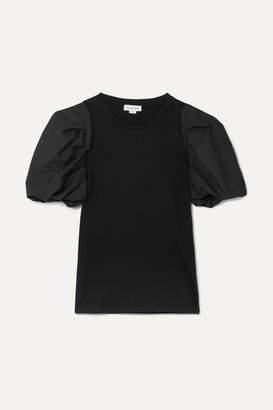 Alexander McQueen Poplin-trimmed Stretch-cotton Jersey T-shirt - Black
