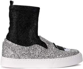 Chiara Ferragni Silver Glitter Slip On With Black Sock