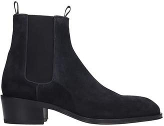 Giuseppe Zanotti Abbey High Heels Ankle Boots In Black Suede