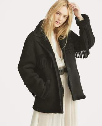 Ralph Lauren Fringe-Trim Shearling Jacket