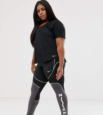 993dc912fd388c Nike Training Plus All Sport Leggings In Black With Mesh Panel