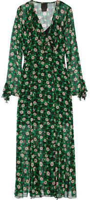 Anna Sui - Ruffle-trimmed Floral-print Silk-georgette Wrap Dress - Green $630 thestylecure.com