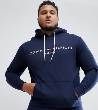 Tommy Hilfiger Big & Tall chest embroidered logo hoodie in navy