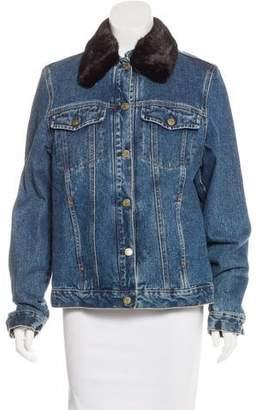 Denim Mink Fur-Trimmed Jacket