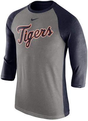 Nike Men's Detroit Tigers Tri-Blend Three-Quarter Raglan T-shirt