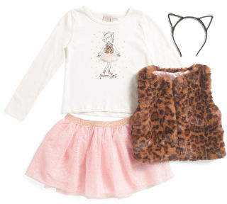 Little Girls 3pc Animal Print Faux Fur Vest Mesh Skirt Set
