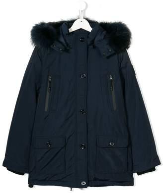 Diadora Junior TEEN faux fur trim hooded coat