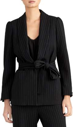 Rachel Roy Collection Pinstripe Puff Sleeve Belted Blazer