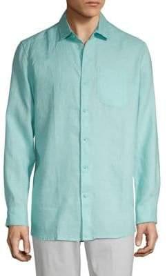 Saks Fifth Avenue BLACK Classic Linen Button-Down Shirt