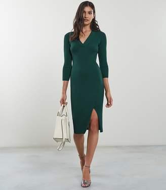 Reiss ALETTI V-NECK KNITTED DRESS Green