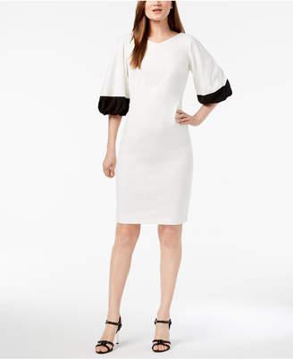 Calvin Klein Colorblocked Puff-Sleeve Sheath Dress