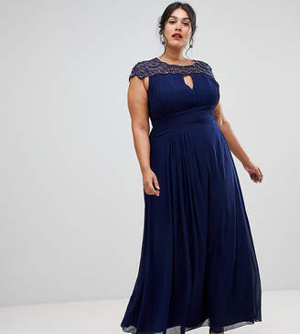 Little Mistress Plus embellished top maxi dress in navy