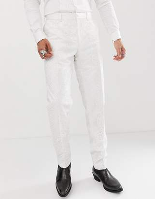 Asos Edition EDITION skinny tuxedo suit pants in sequin and lace embellished white sateen